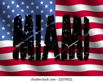 grunge Miami text with American flag illustration