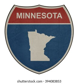 Grunge Minnesota American interstate highway road shield isolated on a white background.