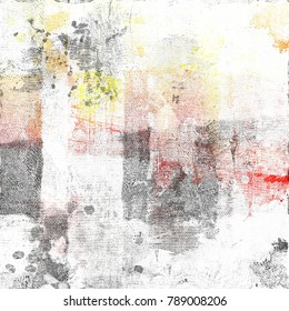 Grunge multicolor abstract dripping on cotton background.