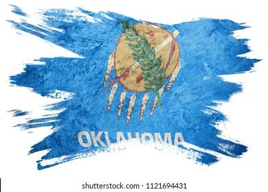 Grunge Oklahoma state flag. Oklahoma flag brush stroke.