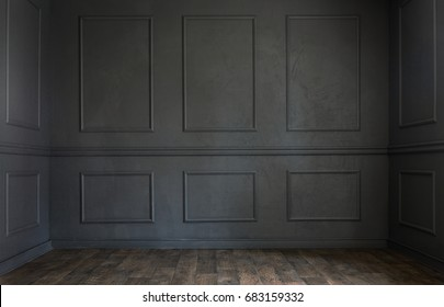 Grunge old dark empty room with copy space
