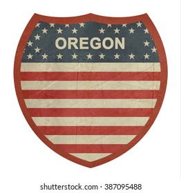 Grunge Oregon American interstate highway sign isolated on a white background.