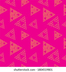 Grunge Outline Triangles Shape Ornament. Handdrawn Triangular Geometric Seamless Pattern Design Template. Yellow and Pink Color Theme.