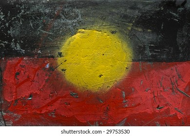 Grunge Painting of Aboriginal Flag