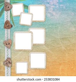 Grunge paper design for information in scrap-booking style