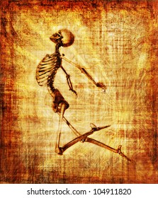 Grunge parchment featuring a leaping skeleton - 3D render with digital painting.