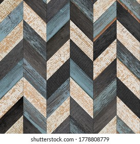 Grunge parquet floor with chevron pattern. Weathered wood texture background. Seamless vintage wooden wall. Old rough wooden surface.  - Shutterstock ID 1778808779