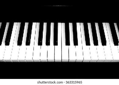 Grunge piano background.  Halftone Dotted Grunge Texture. Music grunge background, illustration.