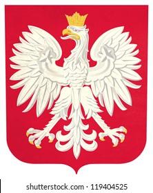 Grunge Poland coat of arms illustration, isolated on white background.