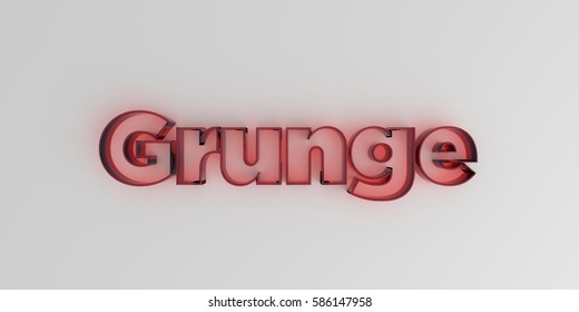 Grunge - Red glass text on white background - 3D rendered royalty free stock image.