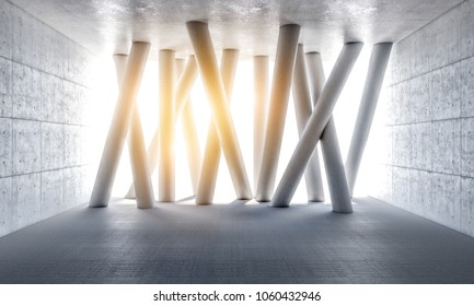 grunge room and abstract columns 3d rendering image