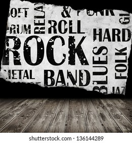 Grunge room with rock style text