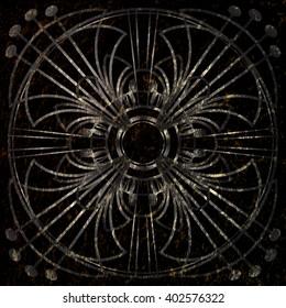 grunge round ornament on a black background