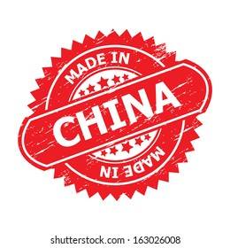 """Grunge rubber stamp with text """" MADE IN CHINA """" present by red color for business or e-commerce."""