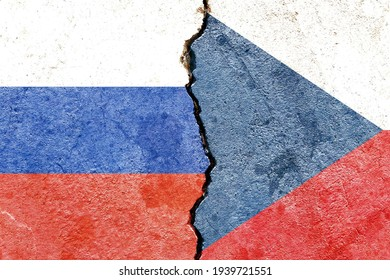 Grunge Russia VS Czech Republic national flags icon pattern isolated on cracked wall background, abstract international political relationship partnership divided conflicts concept texture wallpaper - Shutterstock ID 1939721551