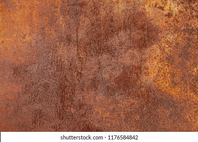 Grunge rusted metal texture, rust and oxidized metal background. Old worn metallic iron panel.