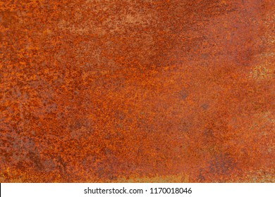 Grunge rusted metal texture. Rusty corrosion and oxidized background. Worn metallic iron panel. Abandoned design wall. Copper bar.