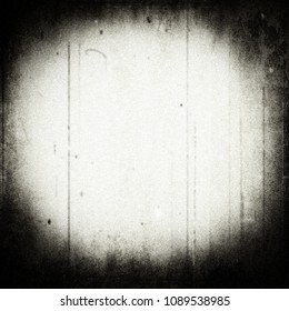 Grunge scratched background, old film effect, horror texture with frame and dust