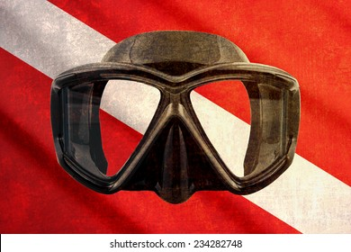 Grunge scuba flag with mask