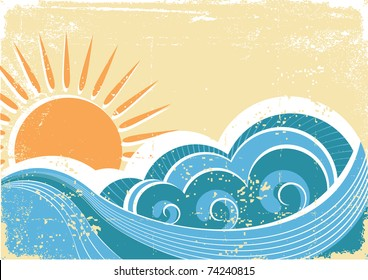 Grunge sea waves. Vintage  illustration of sea landscape.Raster