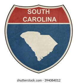 Grunge South Carolina American interstate highway road shield isolated on a white background.
