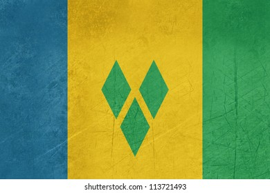 Grunge sovereign state flag of country of Saint Vincent and Grenadine in official colors.