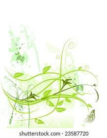 grunge spring growth leaf butterfly abstract swirl pattern