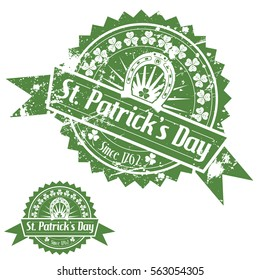 Grunge St. Patrick's Day Stamps with Clover and Horseshoe, isolated on white background