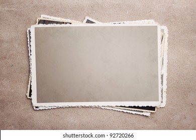 Grunge stack of photos with clipping path