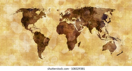 grunge stained map of the world on old paper