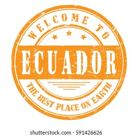"grunge stamp ""welcome to Ecuador, the best place on Earth"", bitmap"