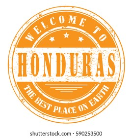 "grunge stamp ""welcome to Honduras, the best place on Earth"", bitmap"