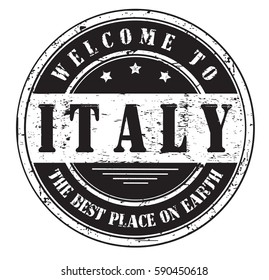 """grunge stamp """"welcome to Italy, the best place on Earth"""", bitmap"""