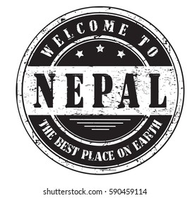 """grunge stamp """"welcome to Nepal, the best place on Earth"""", bitmap"""