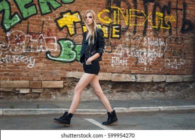 Grunge street fashion female portrait