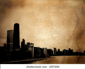 Grunge style background with view of chicago