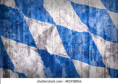 Grunge style of Bavaria flag on a brick wall for background