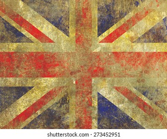 Grunge style illustration of a badly damaged, faded and worn UK Union Jack flag with an old, fading paint on concrete appearance.