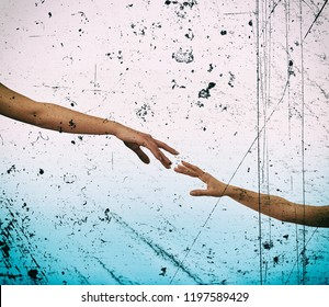 Grunge style image of hands reaching each other