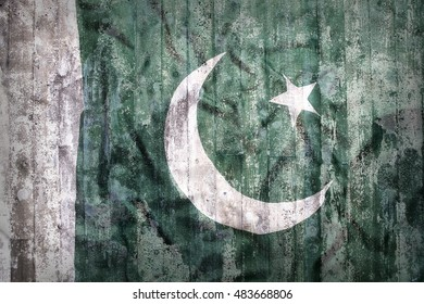 Grunge style of Pakistan flag on a brick wall for background