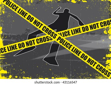 A grunge styled illustration on a crime based theme. A body outline with police tape set on a grunge style background.