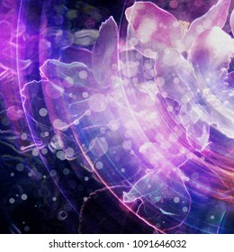 Grunge stylized illustration of a colorful flower, photo manipulation.