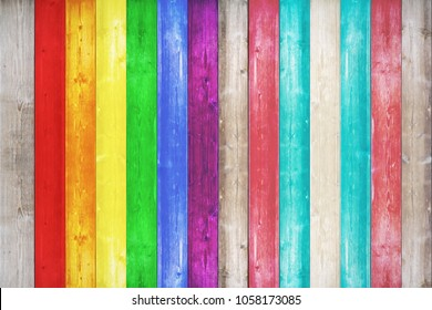 Grunge surface with wood texture background. Wood texture background surface with LGBT natural pattern or white wood texture table top view. Vintage timber texture background. Rustic table top view
