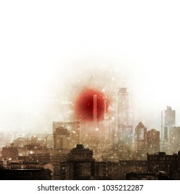 Grunge surreal city skyline with big red sun and star light effect. Copy space.