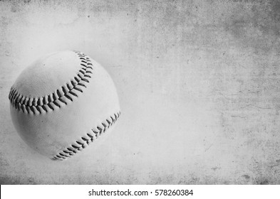 Grunge texture black and white baseball image background. Perfect sports decor, game room print or athletic card.