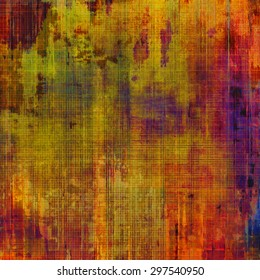 Grunge texture with decorative elements and different color patterns: yellow (beige); green; red (orange); purple (violet)