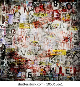 Grunge textured background with old torn newspapers. Abstract dirty backdrop poster with graffiti print letters on vintage texture.