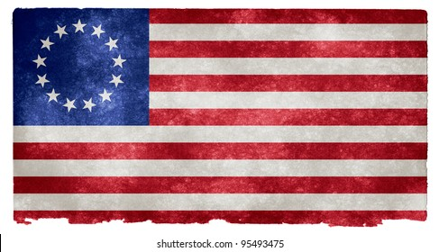 Grunge Textured Early American Flag on Vintage Paper (more specifically, the Betsy Ross flag in use from 1777 to 1795, with the 13 stars representing the first 13 US states)