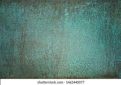 grunge turquoise old dirty abstract Background. Oxidized Metal blue-green Copper Patina and iron oxide texture. Rusty iron metal texture surface. background for web design and wallpaper.