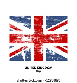 Grunge United Kingdom flag isolated on white background. Design element for flyers or banners.